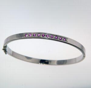 Pink Sapphire bangle style Bracelet 14kw