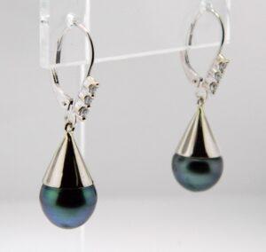 Tahitian Pearl/Diamond Earrings 14kw