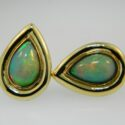 Pear shaped African Opal Earrings 14ky