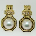 Mabe Pearl/Diamond Earrings 14ky