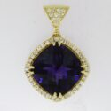 Cushion shaped amethyst/diamond Pendant 14ky