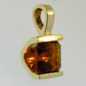 Square emerald cut citrine Pendant 14ky