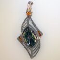 Fantasy cut bi-color Tourmaline/Spessartite garnet Pendant 18kw