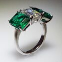 Emerald cut Diamond and Emerald Ring Platinum