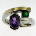 Oval purple Sapphire/ Tsavarite Garnet Ring 18kw/18ky