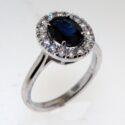 Oval Sapphire/ Diamond halo Ring 14kw