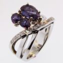 Pear shaped Alexandrite/Diamond Ring 18kw